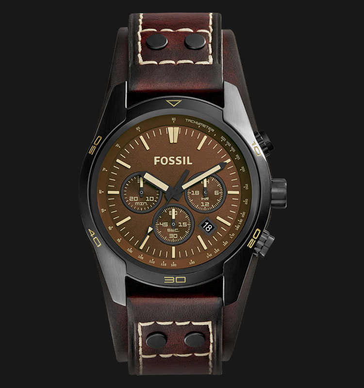 Fossil CH2990 Men Coachman Chronograph Dark Brown Dial OAK Barrel Leather Strap Machtwatch