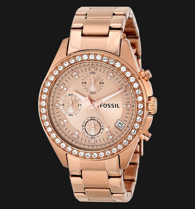 Fossil ES3352 Ladies Decker Chronograph Rose Gold Dial Rose Gold Stainless Steel Strap Machtwatch