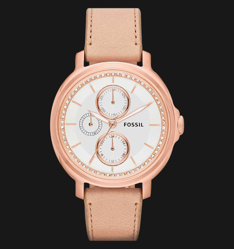 Fossil ES3358 Ladies Chelsey Multifunction Sand Dial Rose Gold Leather Strap Machtwatch