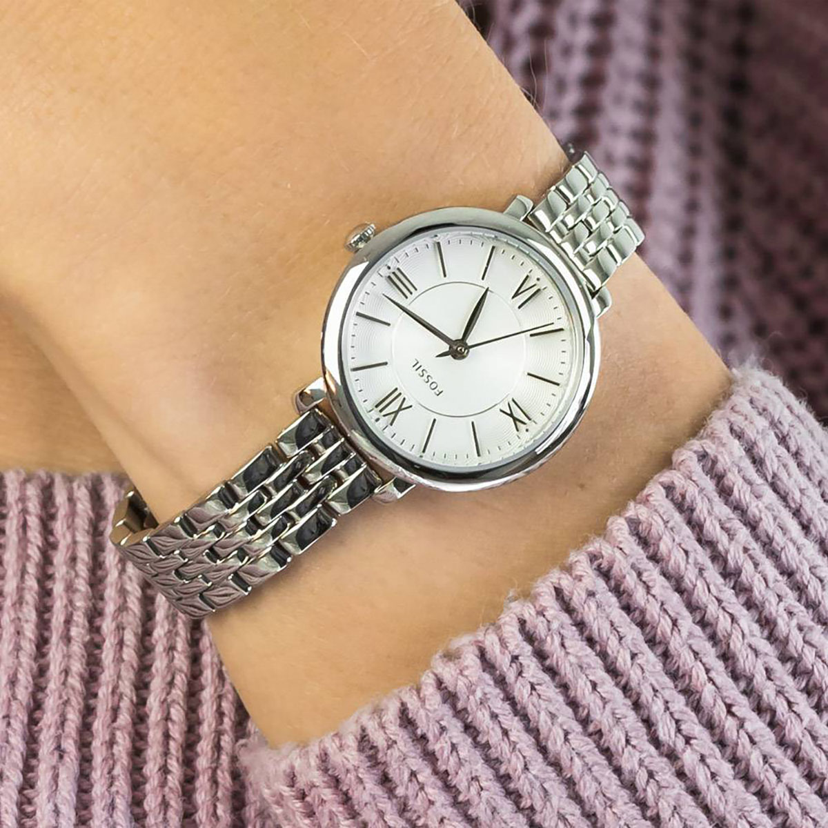 Fossil ES3433 Ladies Jacqueline White Dial Stainless Steel Strap Machtwatch