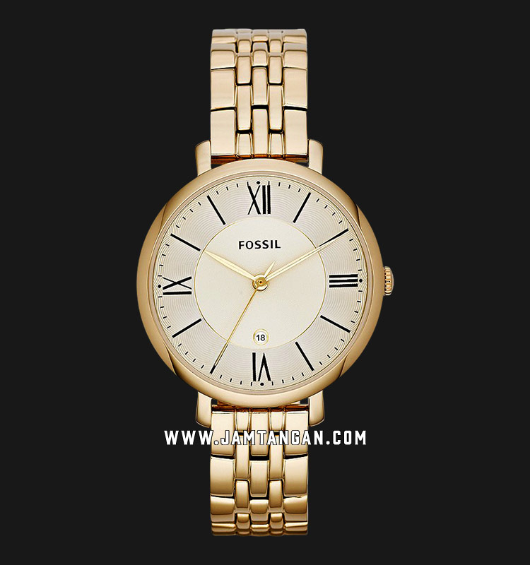 Fossil ES3434 Ladies Jacqueline Gold Dial Gold Tone Stainless Steel Strap Machtwatch