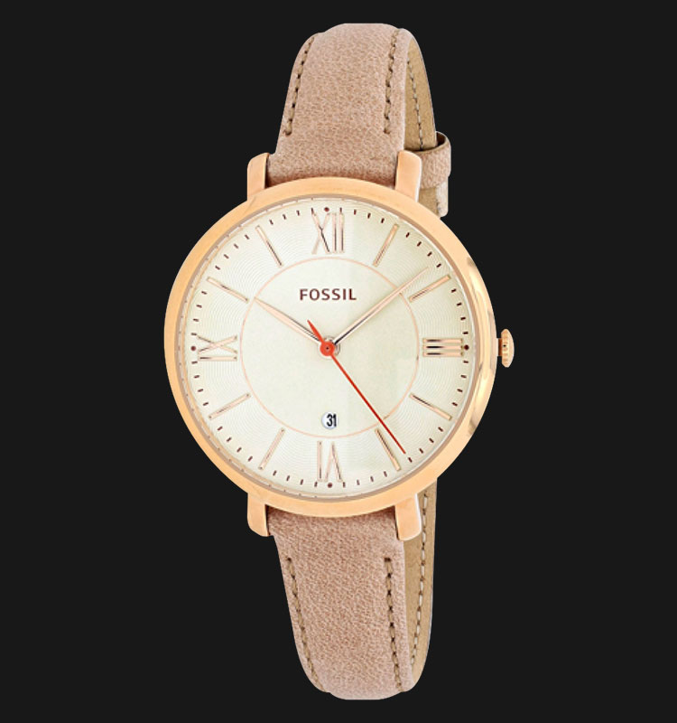 Fossil ES3487 Ladies Jacqueline White Dial Sand Leather Strap Machtwatch