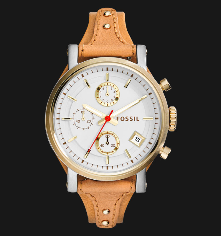 Fossil ES3615 Original Boyfriend Chronograph Tan Leather Strap Machtwatch