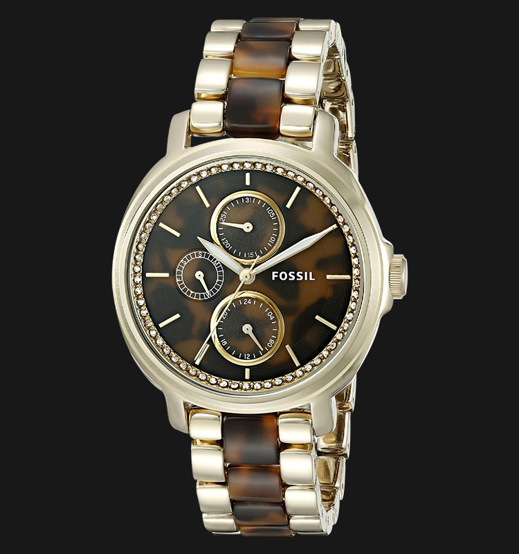 Fossil ES3923 Ladies Chelsey Multifunction Brown Dial Tortoise and Acetate Stainless Steel Strap Machtwatch