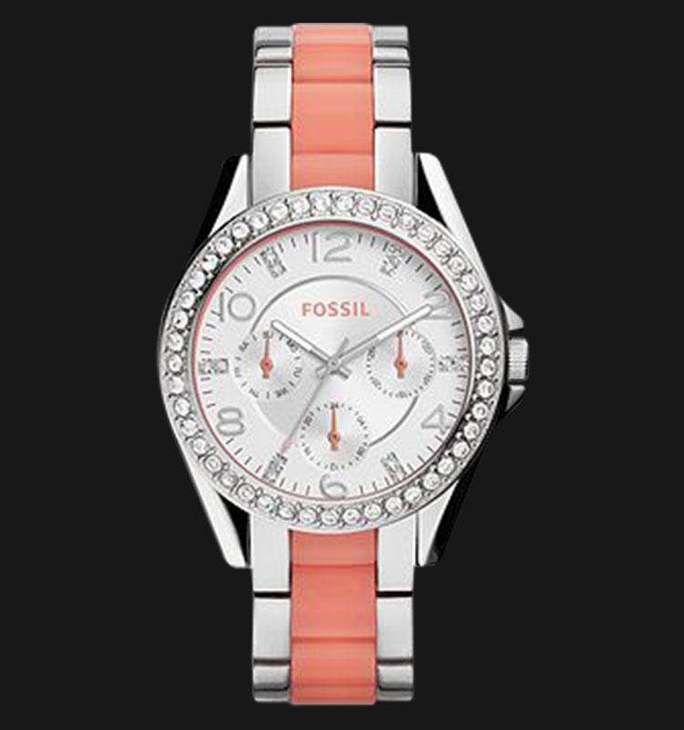 Fossil ES3929 Riley Multifunction Two Tone Stainless Steel and Nylon Strap Machtwatch