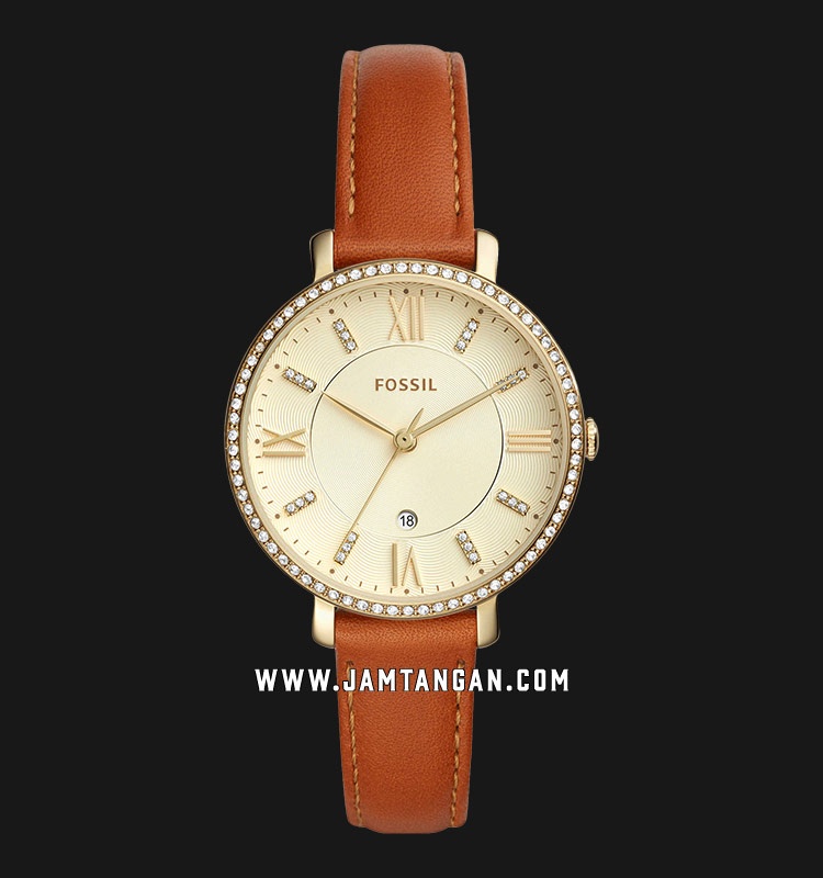Fossil ES4293 Jacqueline Ladies Champagne Dial Brown Leather Strap Machtwatch