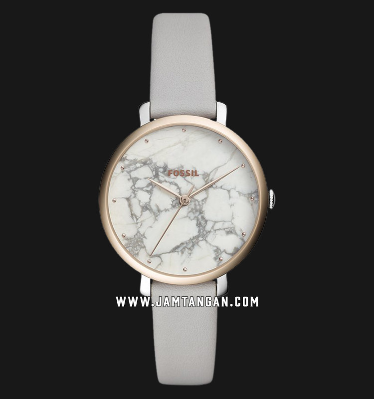 Fossil ES4377 Jacqueline Ladies White Marble Dial Grey Leather Strap Machtwatch