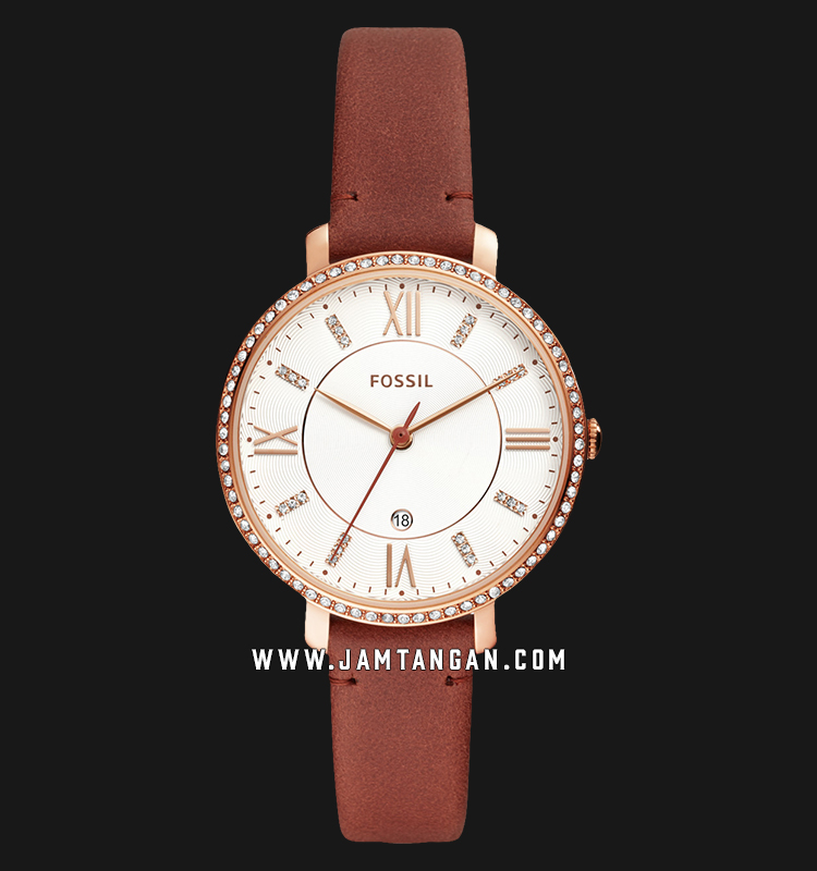 Fossil ES4413 Jacqueline Silver Dial Brown Leather Strap Machtwatch