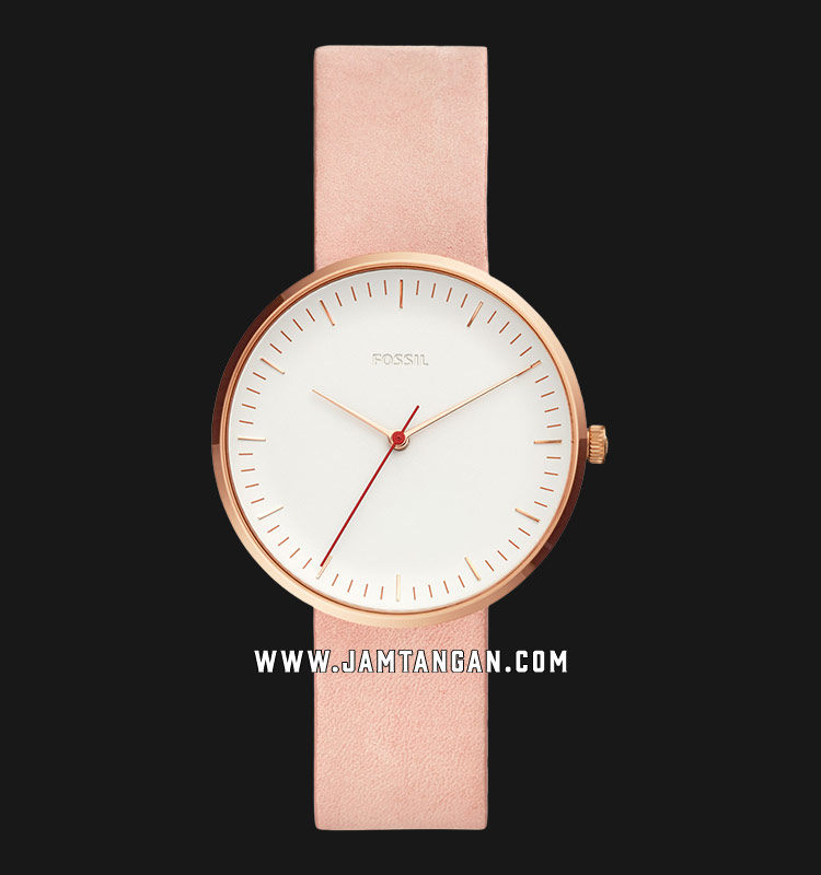 Fossil ES4426 Essentialist Ladies White Dial Rose Gold Leather Strap Machtwatch
