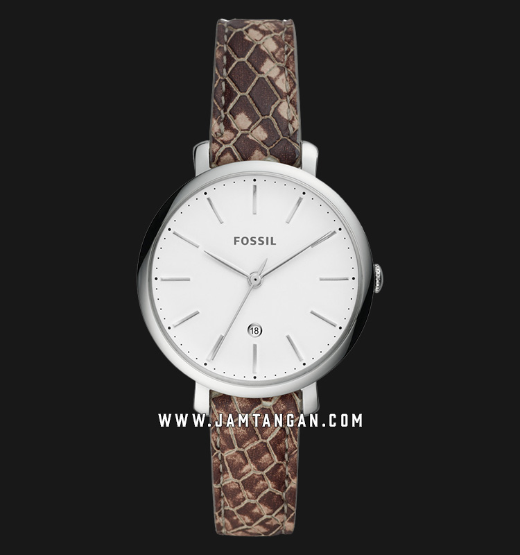 Fossil ES4631 Jacqueline Ladies White Dial Brown Pyton Leather Strap Machtwatch
