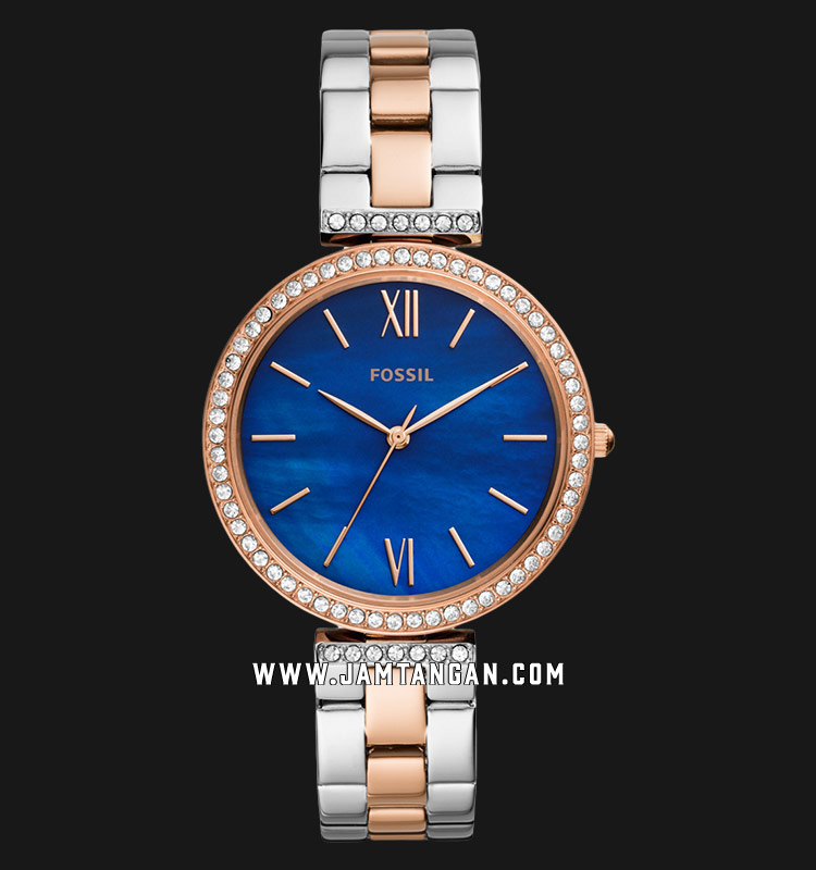 Fossil Madeline ES4640 Ladies Blue Mother of Pearl Dial Dual Tone Stainless Steel Strap Machtwatch