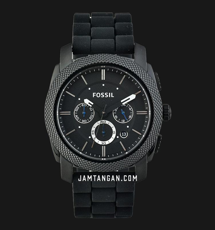 Fossil FS4487 Machine Chronograph Black Silicone Strap Machtwatch