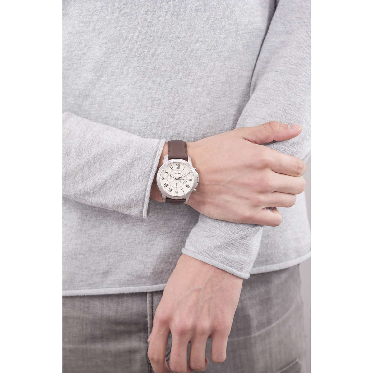 Fossil FS4735 Grant Chronograph Brown Leather Strap Machtwatch