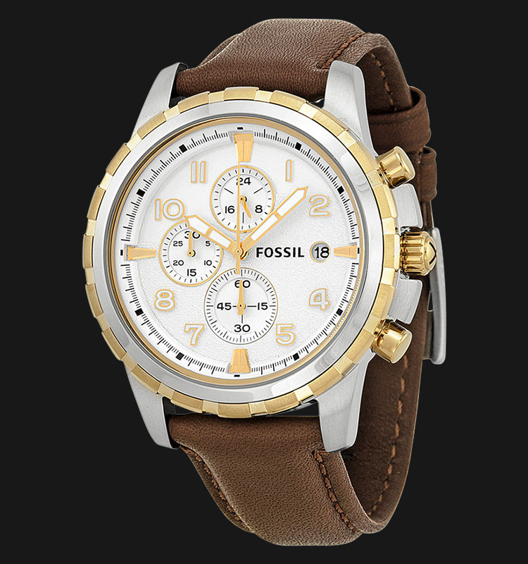 Fossil FS4788 Men Dean Chronograph White Dial Brown Leather Strap Machtwatch