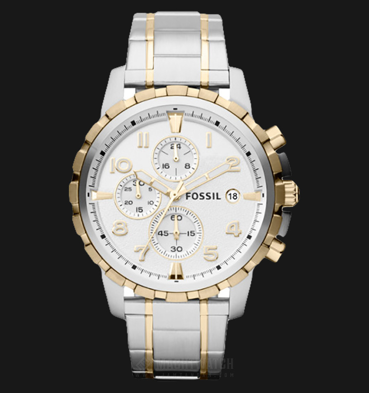 Fossil FS4795 Men Dean Chronograph Silver Dial Dual Tone Stainless Steel Strap Machtwatch