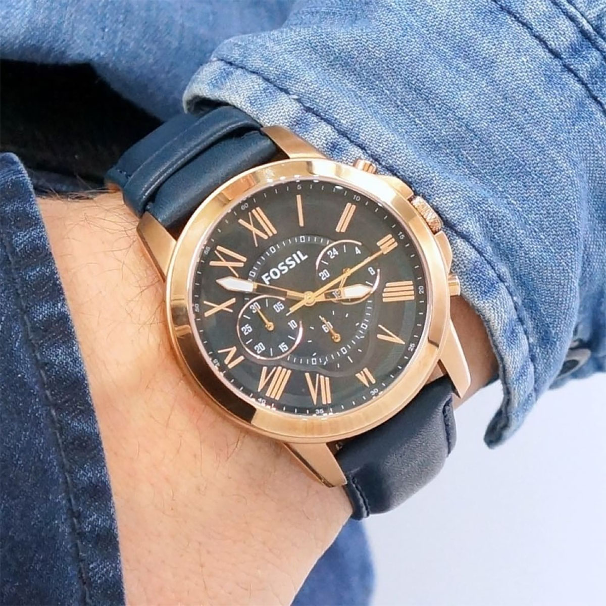 Fossil FS4835 Grant Chronograph Navy Leather Strap Machtwatch