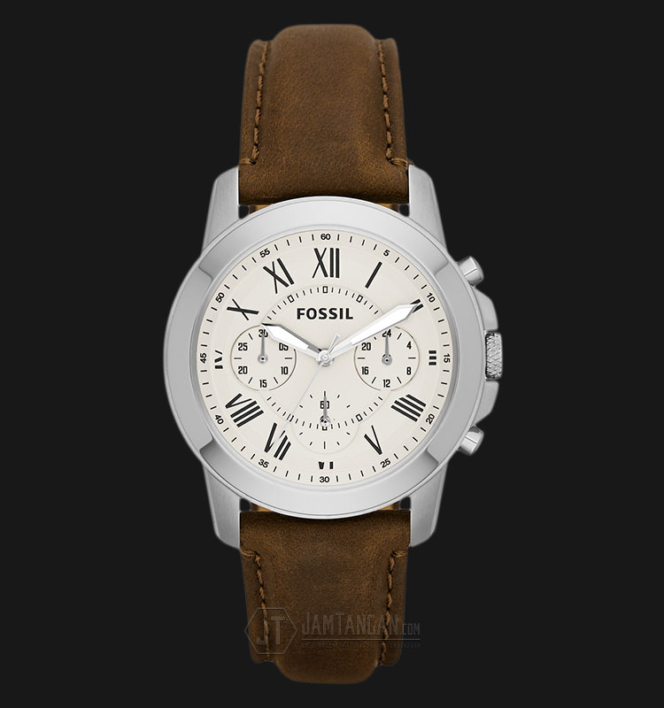 Fossil FS4839 Grant Chronograph White Dial Brown Leather Strap Watch Machtwatch