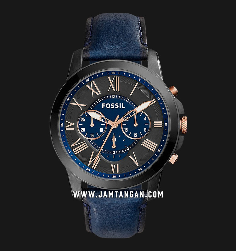 Fossil FS5061 Grant Chronograph Navy Leather Strap Machtwatch