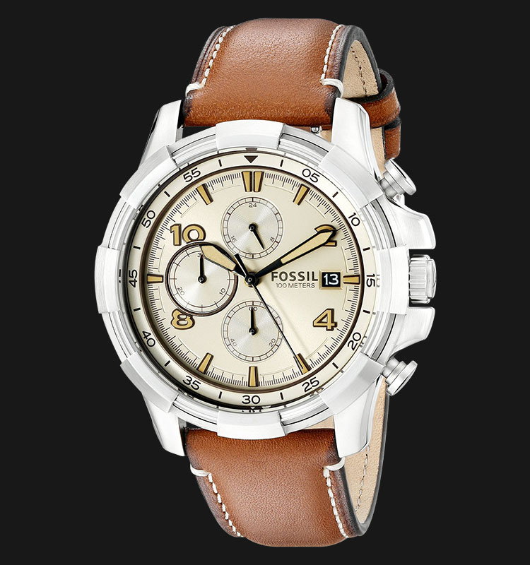 Fossil FS5130 Men Dean Chronograph Beige Dial Light Brown Leather Strap Machtwatch