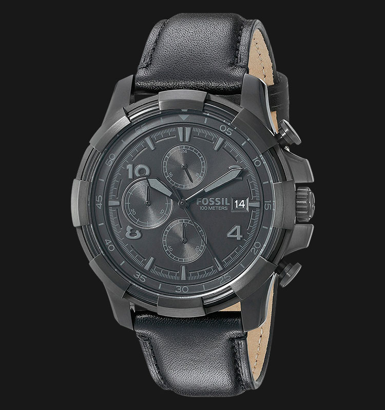 Fossil FS5133 Men Dean Chronograph Black Dial Black Leather Strap Machtwatch