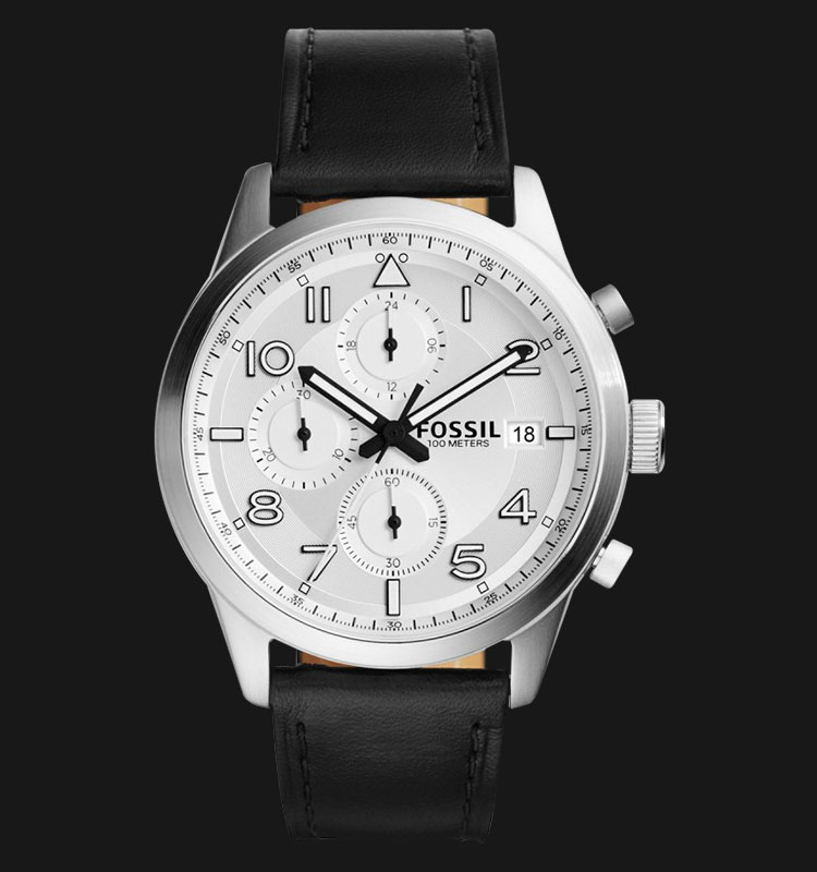 Fossil FS5136 Men Daily Chronograph White Dial Black Leather Strap Machtwatch