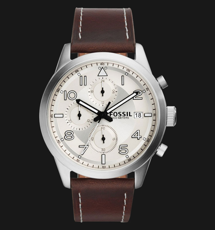 Fossil FS5138 Men Daily Chronograph Cream Dial Brown Leather Strap Machtwatch