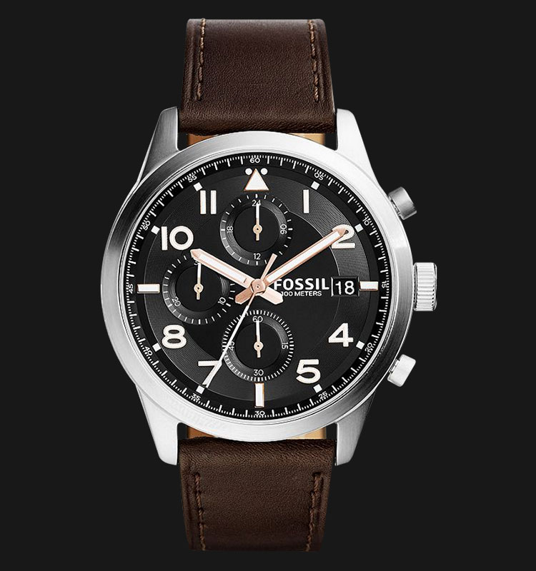 Fossil FS5139 Men Daily Chronograph Black Dial Brown Leather Strap Machtwatch