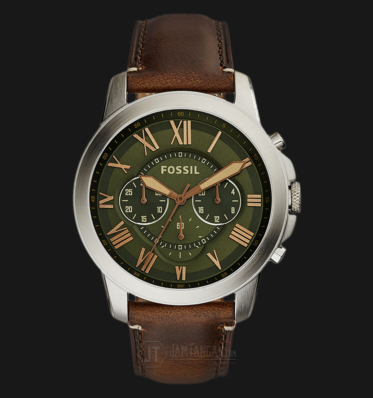 Fossil FS5153 Grant Chronograph Green Dial Brown Leather Strap Watch Machtwatch