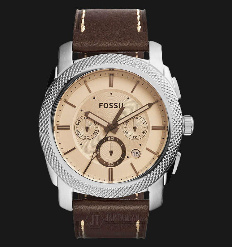 Fossil FS5170 Machine Chronograph Beige Dial Brown Leather Strap Machtwatch