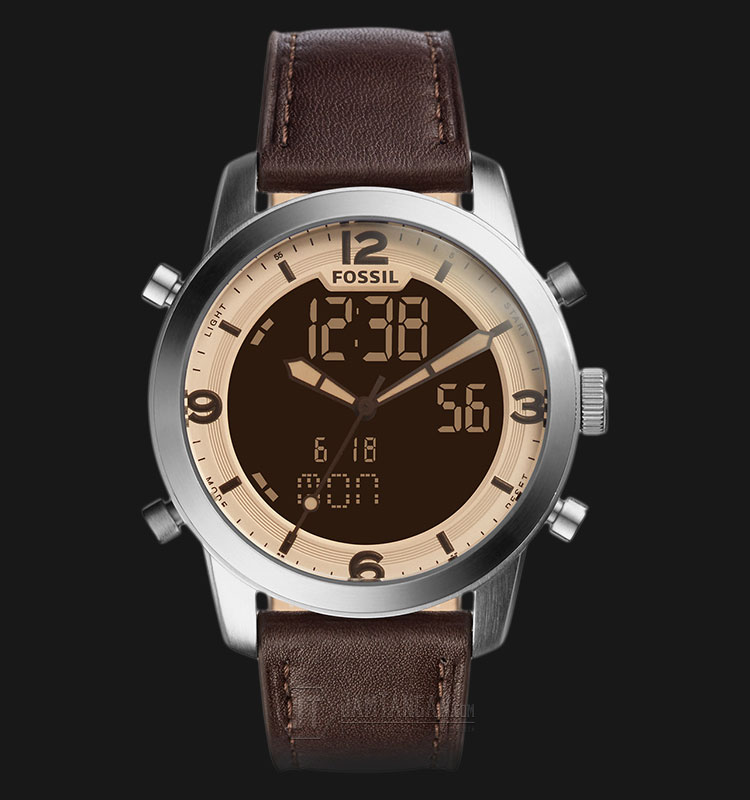 Fossil FS5173 Men Pilot 54 Chronograp Brown Analog Digital Dial Brown Leather Strap Machtwatch