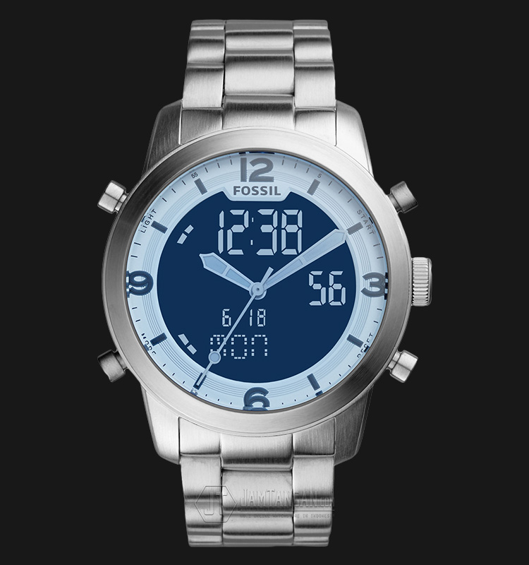 Fossil FS5176 Men Pilot 54 Chronograph Blue Analog Digital Dial Stainless Steel Strap Machtwatch