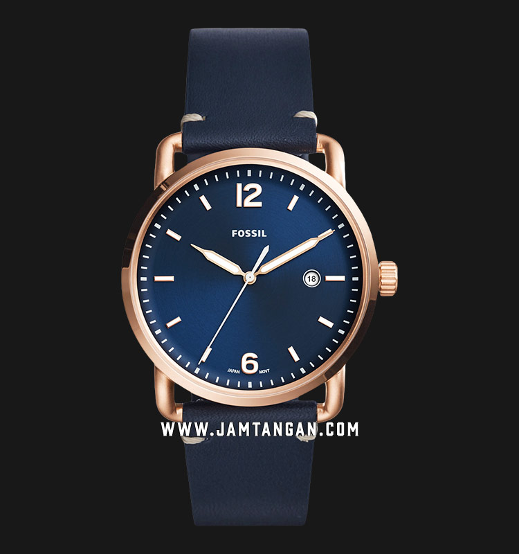 Fossil FS5274 Men The Commuter Date Blue Dial Blue Leather Strap Machtwatch
