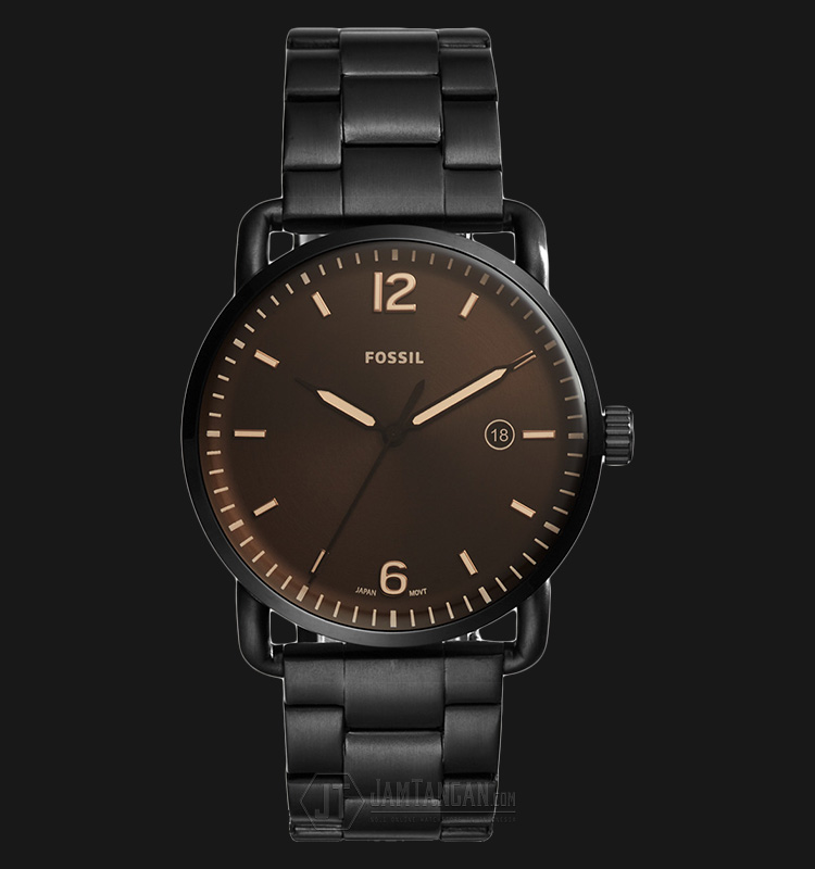 Fossil FS5277 Men The Commuter Date Black Dial Black Stainless Steel Strap Machtwatch