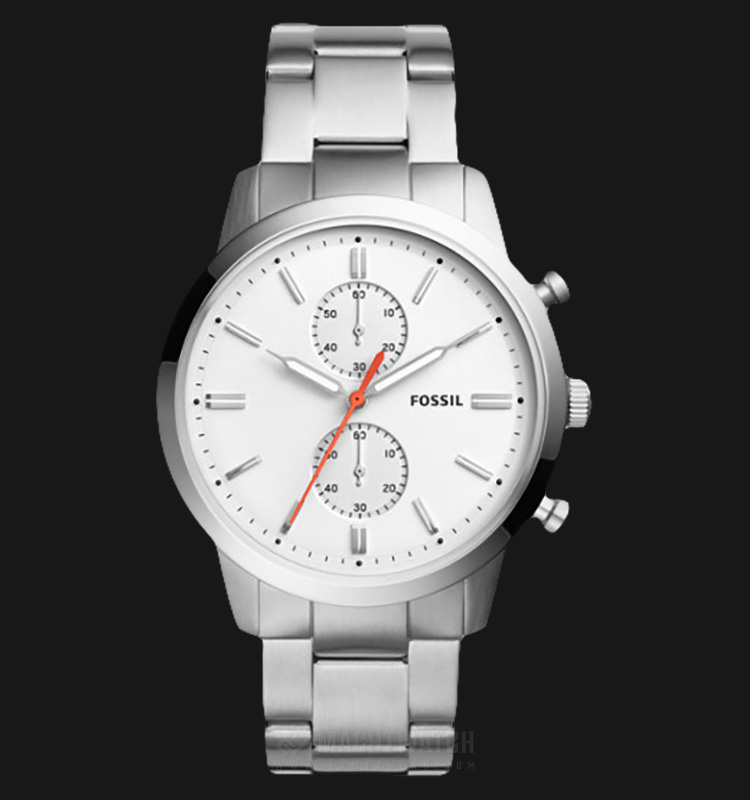 Fossil FS5346 Townsman Chronograph Men White Dial Stainless Steel Strap Machtwatch