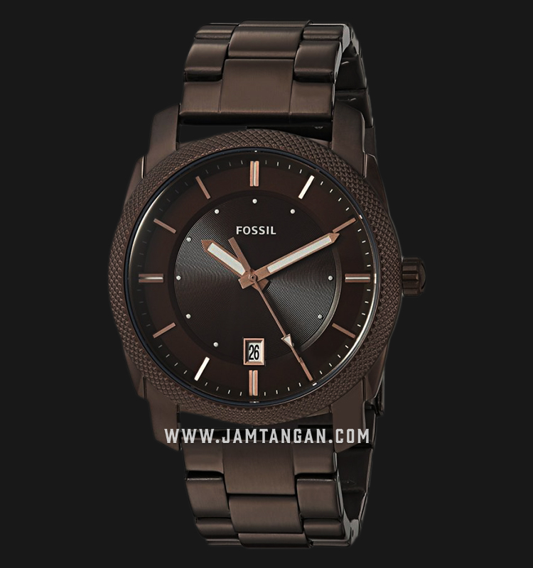 Fossil FS5370 Machine Men Dark Brown Dial Dark Brown Case Dark Brown Stainless Steel Bracelet Machtwatch