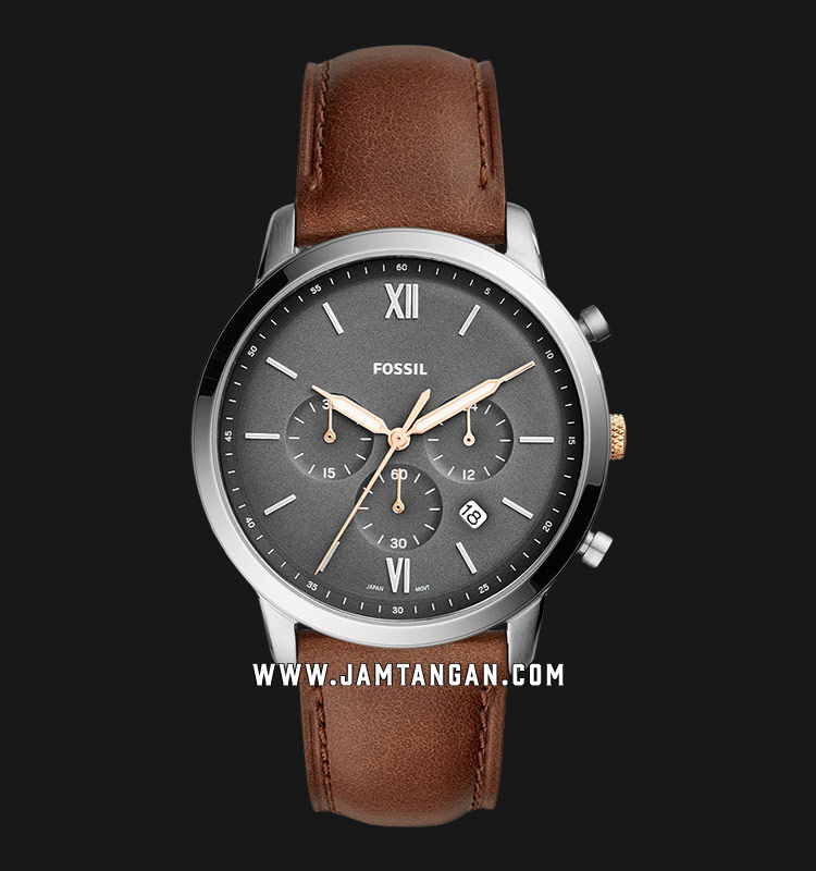 Fossil FS5408 Neutra Chronograph Grey Dial Brown Leather Strap Machtwatch