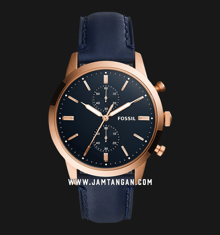 Fossil FS5436 Townsman Chronograph Blue Dial Navy Blue Leather Strap Machtwatch