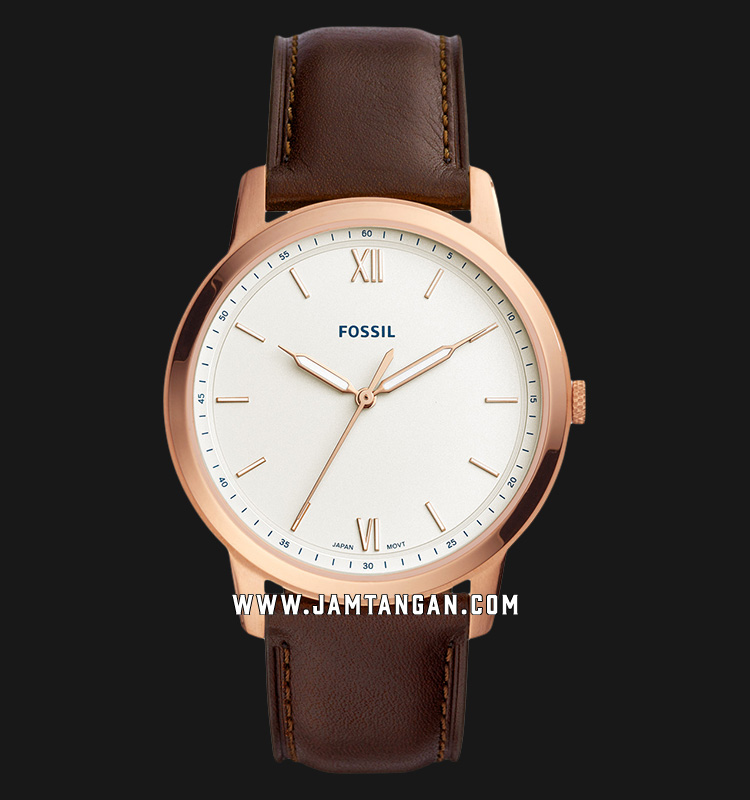 Fossil FS5463 The Minimalist Men White Dial Brown Leather Strap Machtwatch