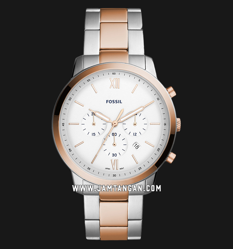 Fossil FS5475 Neutra Chrono Men White Dial Dual Tone Stainless Steel Machtwatch