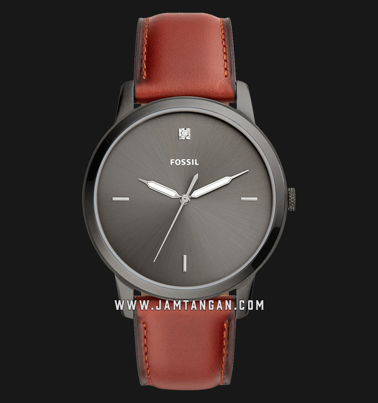 Fossil FS5479 The Minimalist Carbon Series Men Grey Dial Brown Leather Strap Machtwatch
