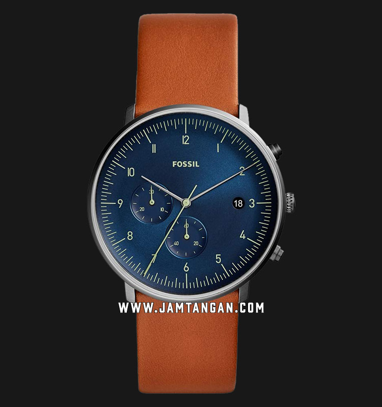 Fossil FS5486 Chase Timer Chronograph Men Blue Dial Brown Leather Strap Machtwatch