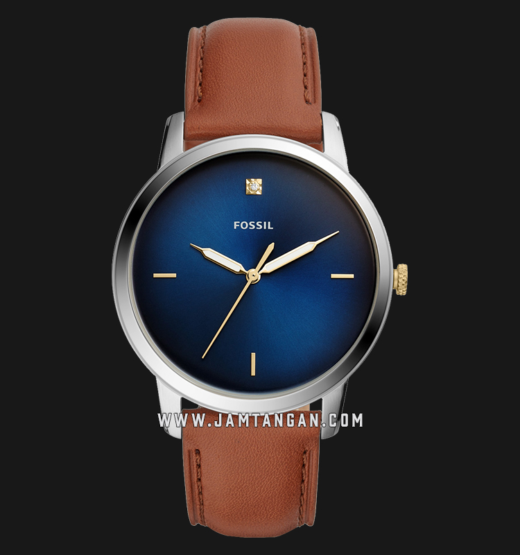 Fossil FS5499 The Minimalist Carbon Series Men Blue Dial Tan Leather Strap Machtwatch
