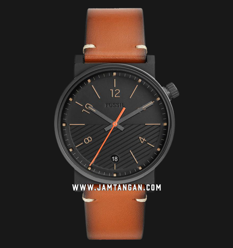 Fossil FS5507 Barstrow Men Black Dial Brown Leather Strap Machtwatch
