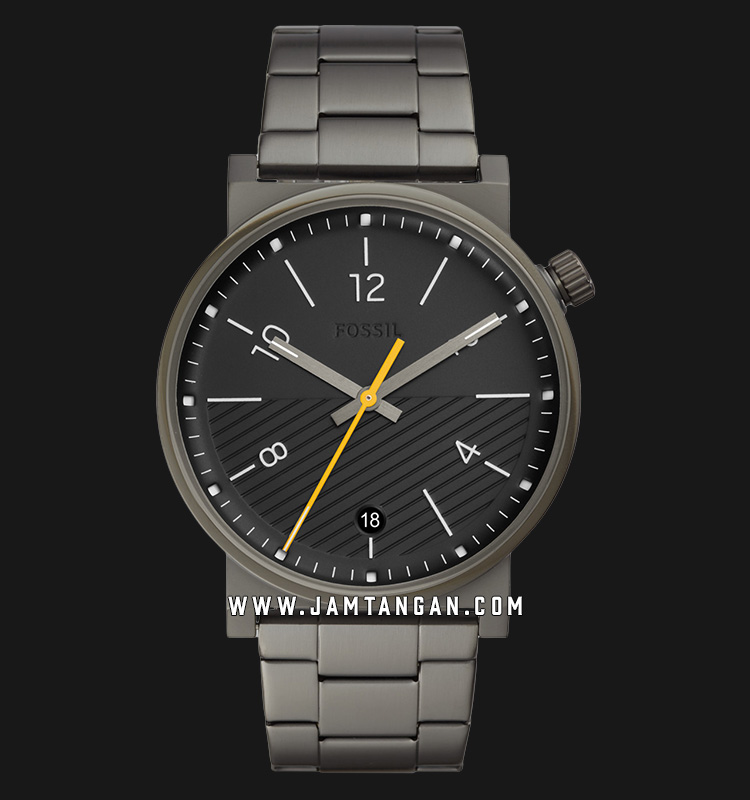 Fossil Barstow FS5508 Men Black Dial Gray Stainless Steel Strap Machtwatch
