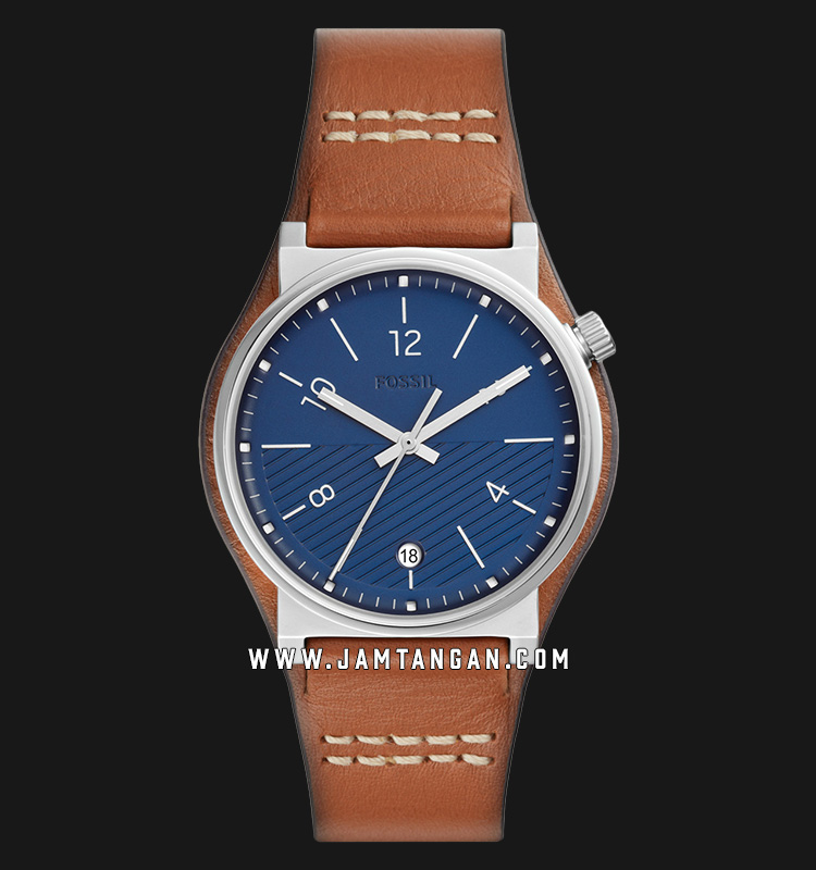 Fossil Barstow FS5524 Men Blue Dial Brown Leather Strap Machtwatch