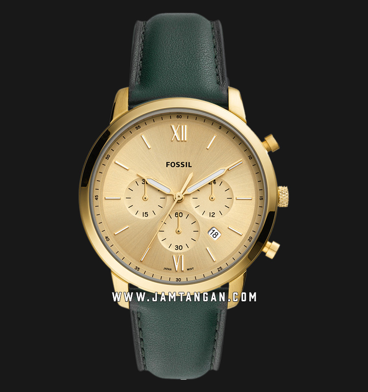 Fossil FS5580 Chronograph Neutra Gold Dial Dark Green Leather Strap Machtwatch