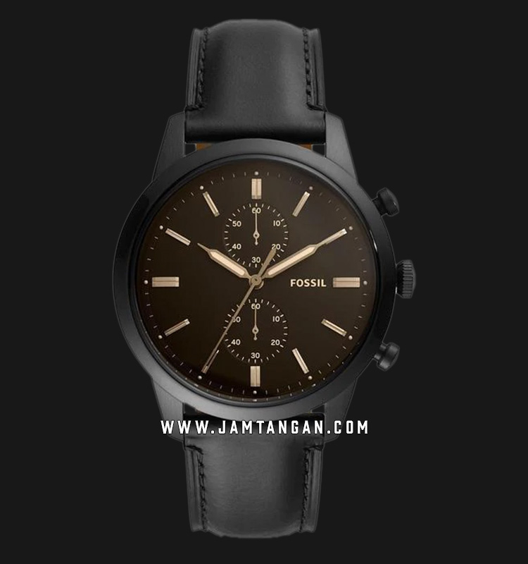 Fossil FS5585 Townsman Chronograph Black Dial Black Leather Strap Machtwatch