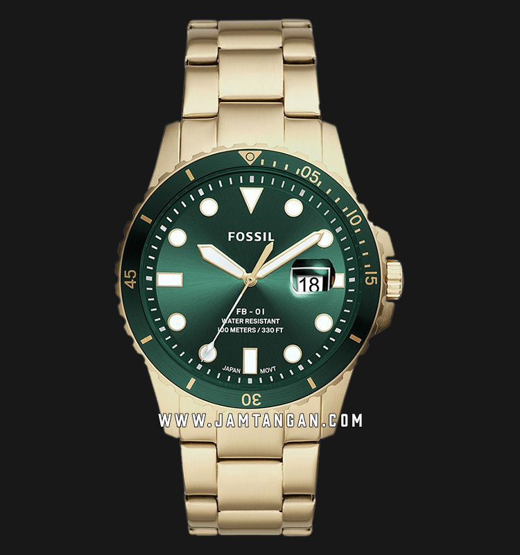 Fossil FS5658 FB-01 Green Dial Gold Stainless Steel Strap Machtwatch