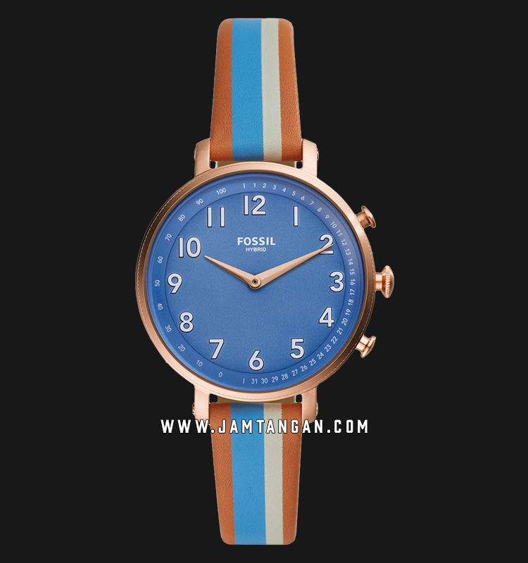 Fossil Q Cameron FTW5050 Hybrid Smartwatch Blue Dial Multicolour Leather Strap Machtwatch