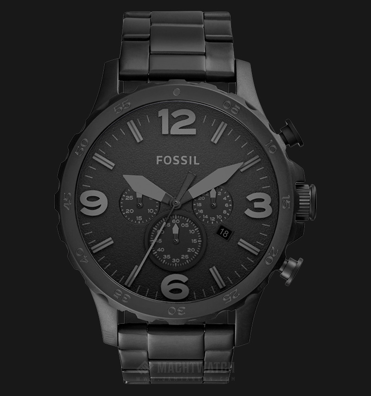 Fossil JR1401 Nate Chronograph Black Stainless Steel Machtwatch